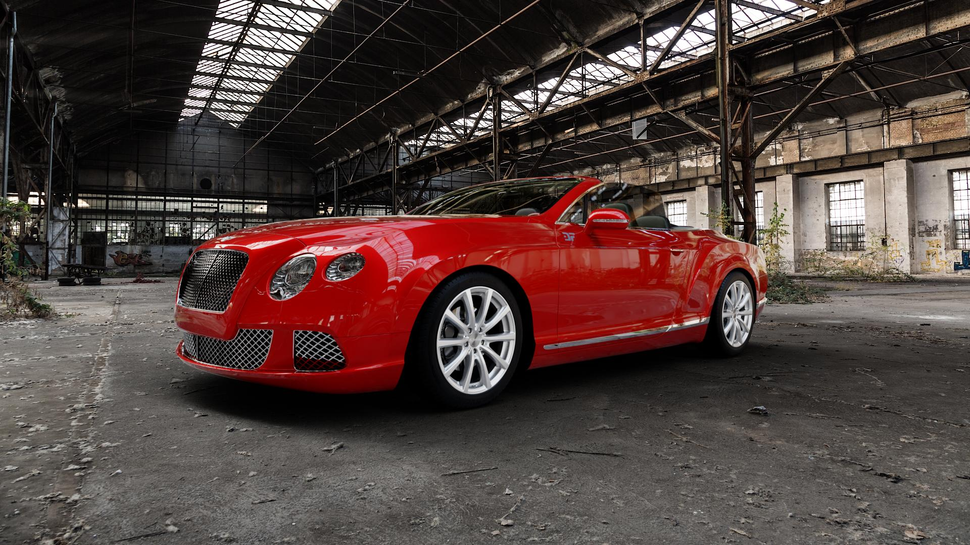 Brock B32 kristallsilber lackiert Felge mit Reifen in 19Zoll Winterfelge Alufelge auf rotem Bentley Continental Flying Spur GT GTC ⬇️ mit 15mm Tieferlegung ⬇️ Industriehalle 1 Camera_000