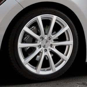 Brock B32 kristallsilber lackiert Felge mit Reifen in 19Zoll Winterfelge Alufelge auf silbernem Ford Mustang VI Coupe Typ LAE Cabrio ⬇️ mit 15mm Tieferlegung ⬇️ Industriehalle 1 Thumbnail