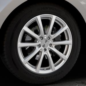 Brock B32 kristallsilber lackiert Felge mit Reifen in 19Zoll Winterfelge Alufelge auf silbernem Land Rover Range Velar Typ LY ⬇️ mit 15mm Tieferlegung ⬇️ Industriehalle 1 Thumbnail