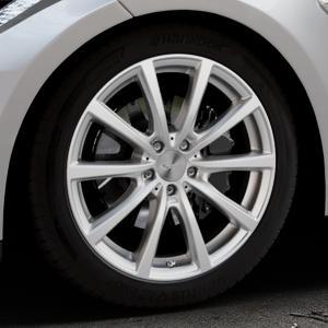 Brock B32 kristallsilber lackiert Felge mit Reifen in 19Zoll Winterfelge Alufelge auf silbernem Tesla Model S Typ 002 ⬇️ mit 15mm Tieferlegung ⬇️ Industriehalle 1 Thumbnail