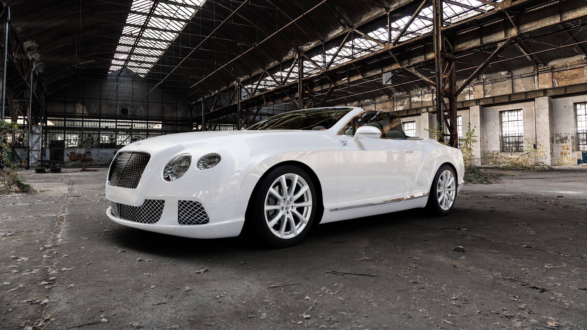 Brock B32 kristallsilber lackiert Felge mit Reifen in 19Zoll Winterfelge Alufelge auf weissem Bentley Continental Flying Spur GT GTC ⬇️ mit 15mm Tieferlegung ⬇️ Industriehalle 1 Camera_000