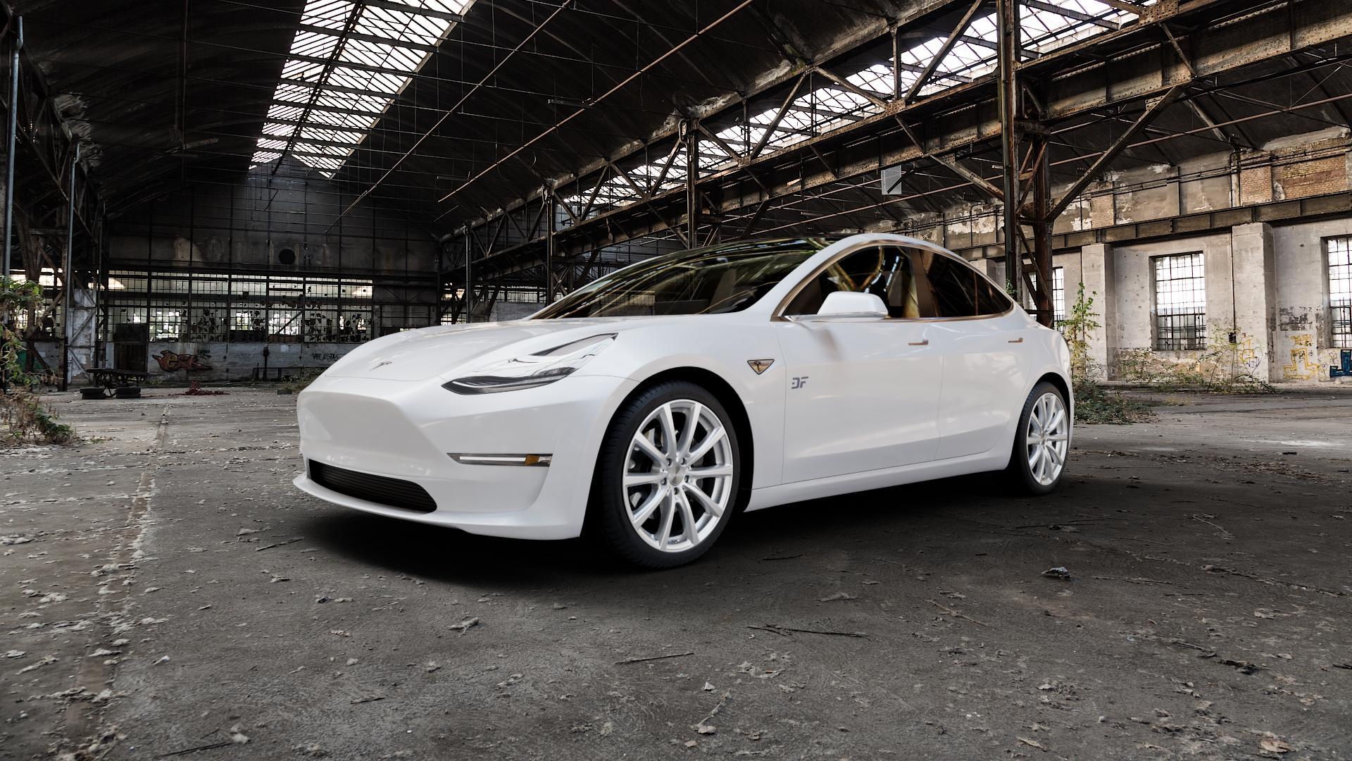 Brock B32 kristallsilber lackiert Felge mit Reifen in 19Zoll Winterfelge Alufelge auf weissem Tesla Model 3 Typ 003 ⬇️ mit 15mm Tieferlegung ⬇️ Industriehalle 1 Camera_000