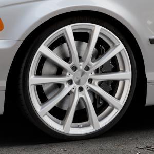 Brock B32 kristallsilber lackiert Felge mit Reifen in 20Zoll Winterfelge Alufelge auf silbernem BMW 316i Typ E46 (Limousine) 318i 320i 323i 328i 325i 330d 330xd 330i 318d 320d 325xi 330xi ⬇️ mit 15mm Tieferlegung ⬇️ Industriehalle 1 Thumbnail