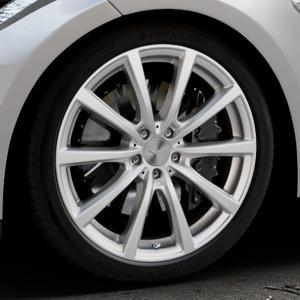 Brock B32 kristallsilber lackiert Felge mit Reifen in 20Zoll Winterfelge Alufelge auf silbernem Tesla Model S Typ 002 ⬇️ mit 15mm Tieferlegung ⬇️ Industriehalle 1 Thumbnail