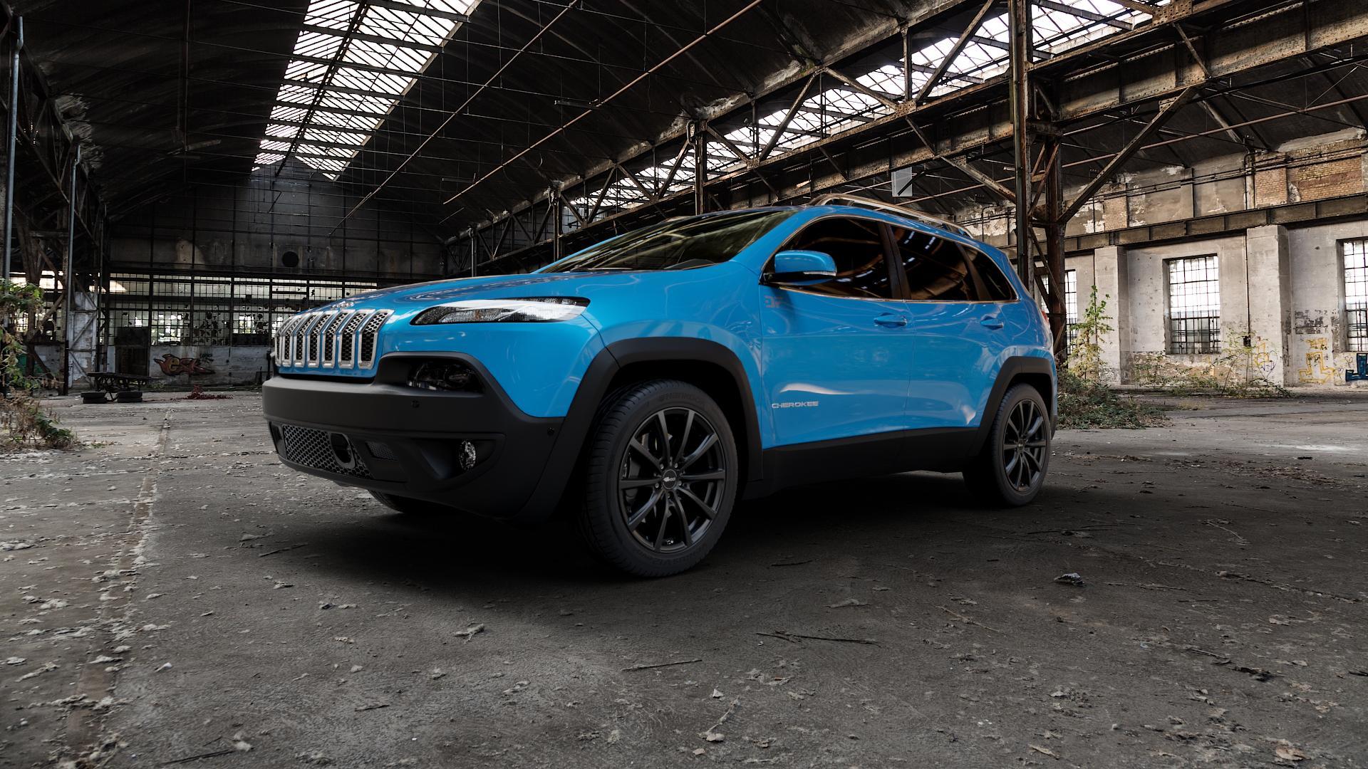 Brock B32 schwarz-matt lackiert Felge mit Reifen in 18Zoll Winterfelge Alufelge auf hellblau Jeep Cherokee Typ KL Trailhawk ⬇️ mit 15mm Tieferlegung ⬇️ Industriehalle 1 Camera_000