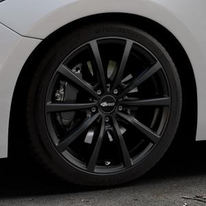 Brock B32 schwarz-matt lackiert Felge mit Reifen in 18Zoll Winterfelge Alufelge auf silbernem Mazda 3 (13-) Stufenheck (BM) Sport (17-) Facelift Fließheck ⬇️ mit 15mm Tieferlegung ⬇️ Industriehalle 1 Thumbnail
