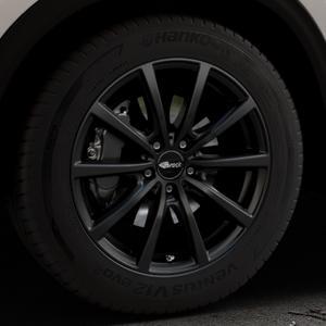 Brock B32 schwarz-matt lackiert Felge mit Reifen in 18Zoll Winterfelge Alufelge auf silbernem Mazda CX-5 Typ KF ⬇️ mit 15mm Tieferlegung ⬇️ Industriehalle 1 Thumbnail