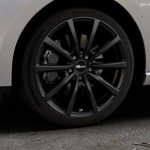 Brock B32 schwarz-matt lackiert Felge mit Reifen in 18Zoll Winterfelge Alufelge auf silbernem Seat Leon Typ 5F ST Facelift ⬇️ mit 15mm Tieferlegung ⬇️ Industriehalle 1 Thumbnail