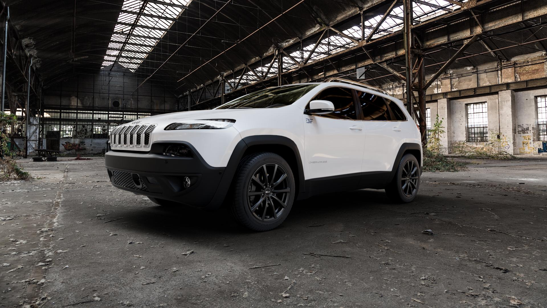 Brock B32 schwarz-matt lackiert Felge mit Reifen in 18Zoll Winterfelge Alufelge auf weissem Jeep Cherokee Typ KL Trailhawk ⬇️ mit 15mm Tieferlegung ⬇️ Industriehalle 1 Camera_000