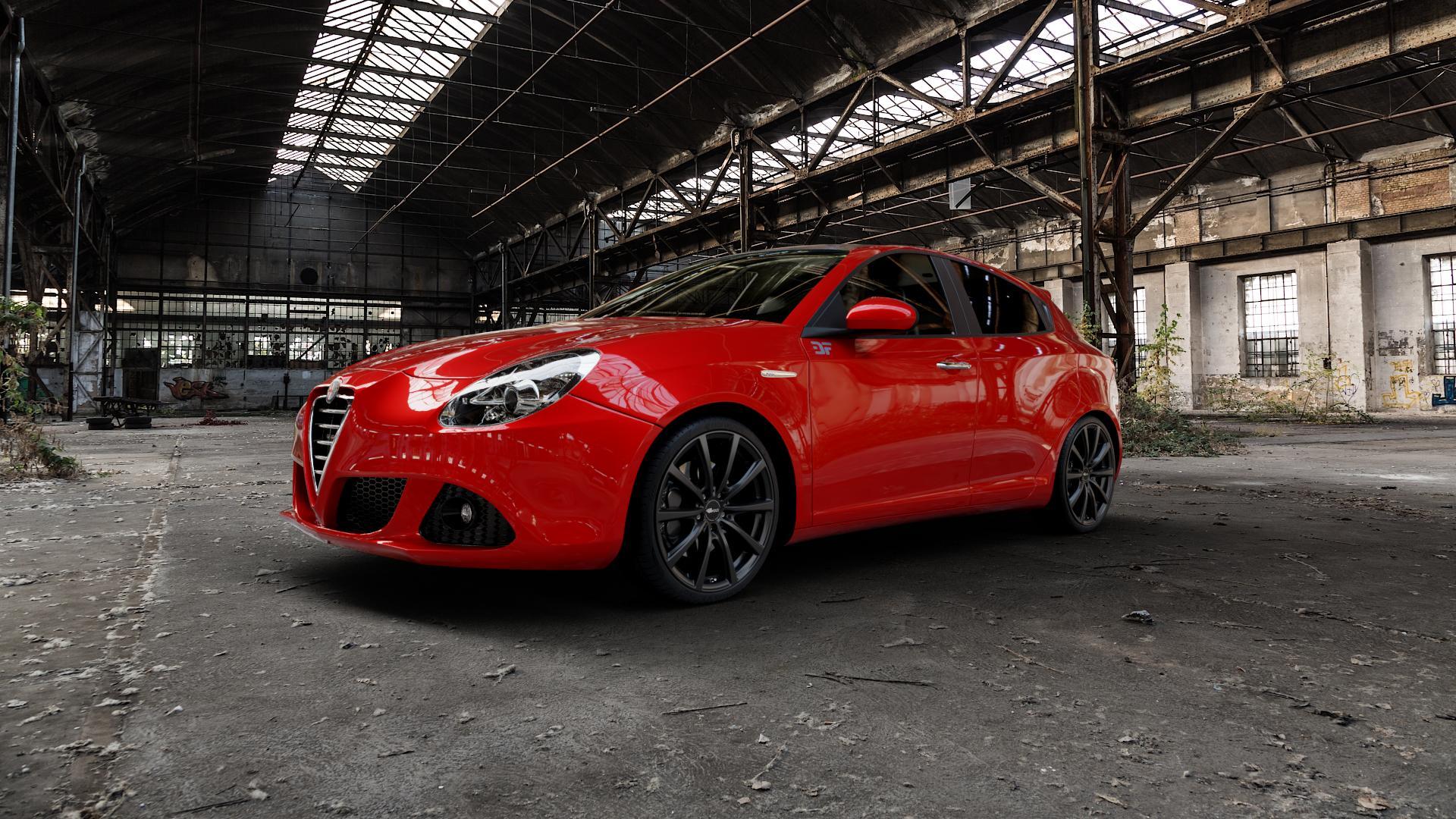 Brock B32 schwarz-matt lackiert Felge mit Reifen in 19Zoll Winterfelge Alufelge auf rotem Alfa Romeo Giulietta Typ 940 ⬇️ mit 15mm Tieferlegung ⬇️ Industriehalle 1 Camera_000