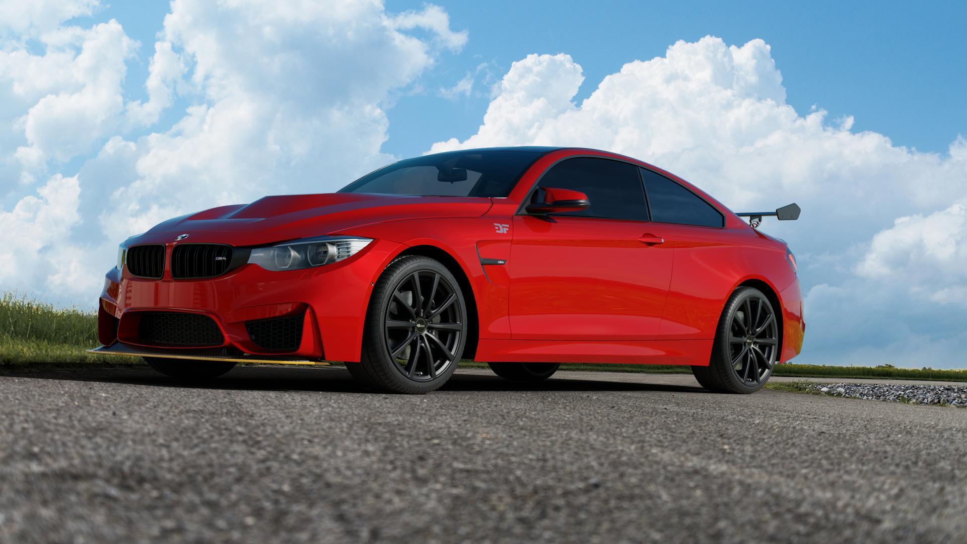 Brock B32 schwarz-matt lackiert Felge mit Reifen in 19Zoll Winterfelge Alufelge auf rotem BMW M4 Typ F82 GTS 3,0l 368kW (500 PS) ⬇️ mit 15mm Tieferlegung ⬇️ Satellit 1 Camera_000