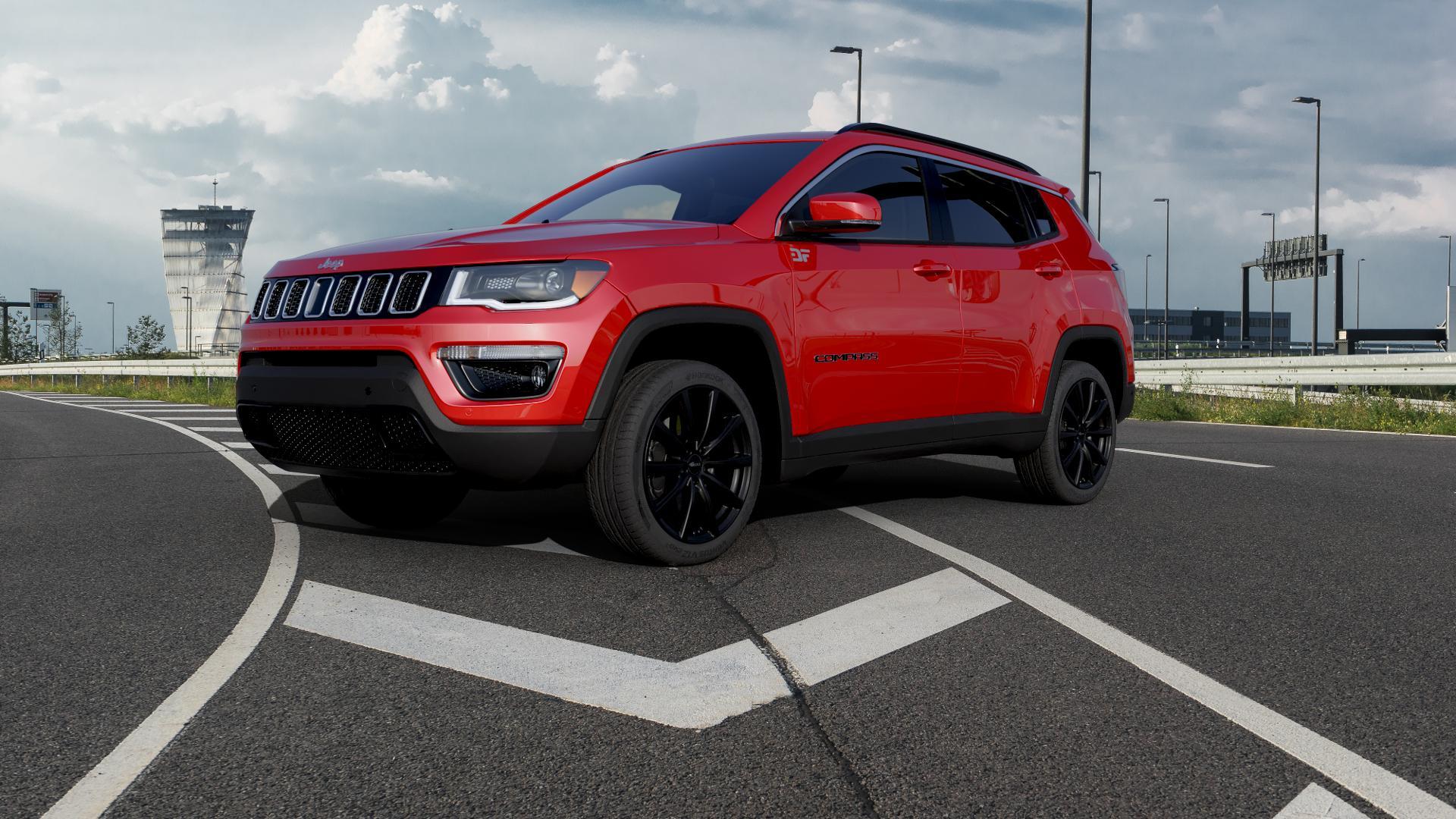 Brock B32 schwarz-matt lackiert Felge mit Reifen in 19Zoll Winterfelge Alufelge auf rotem Jeep Compass III Typ MX ⬇️ mit 15mm Tieferlegung ⬇️ Autobahn_1 Camera_000