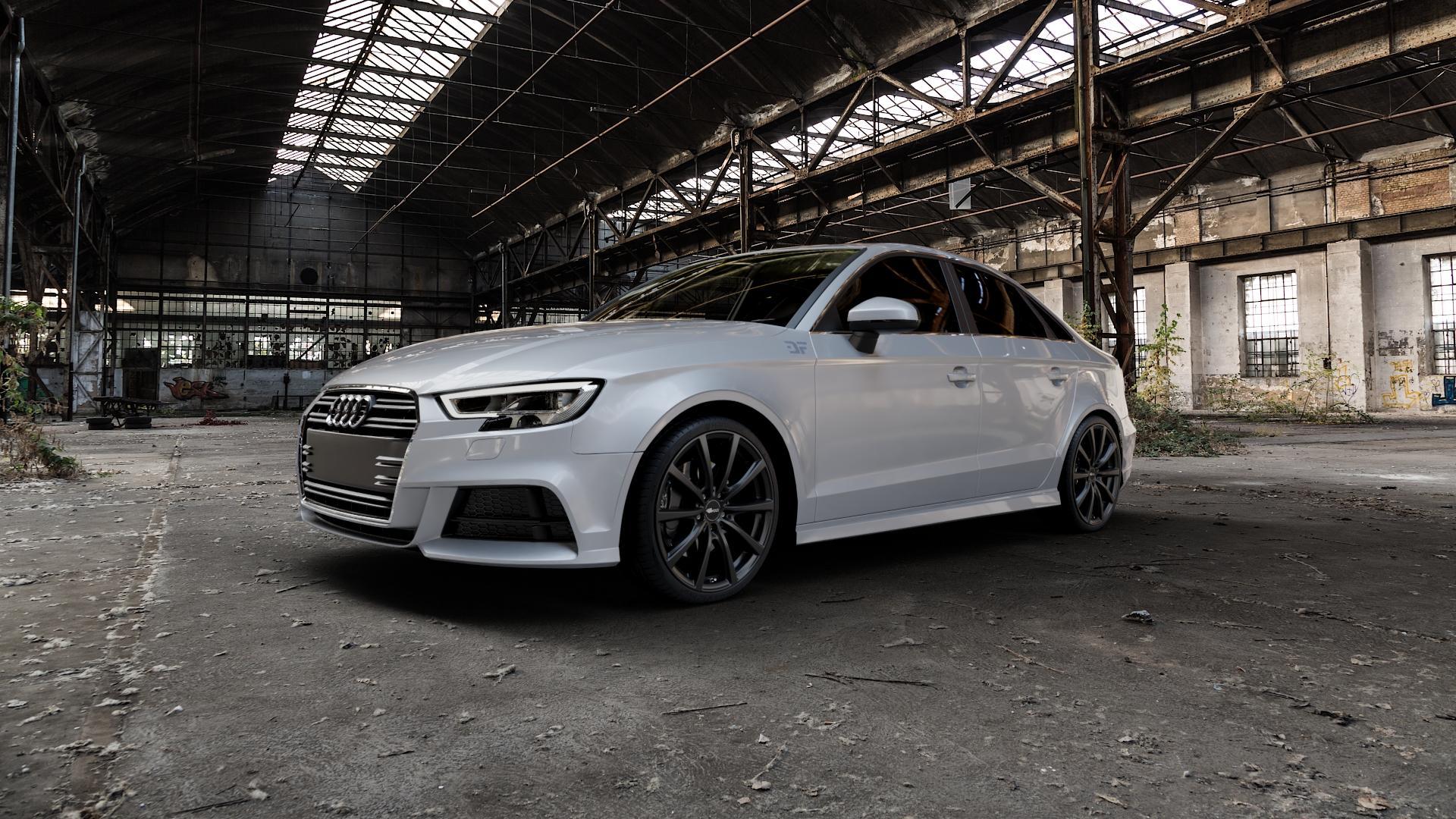Brock B32 schwarz-matt lackiert Felge mit Reifen in 19Zoll Winterfelge Alufelge auf silbernem Audi A3 Typ 8V (Limousine) Facelift ⬇️ mit 15mm Tieferlegung ⬇️ Industriehalle 1 Camera_000