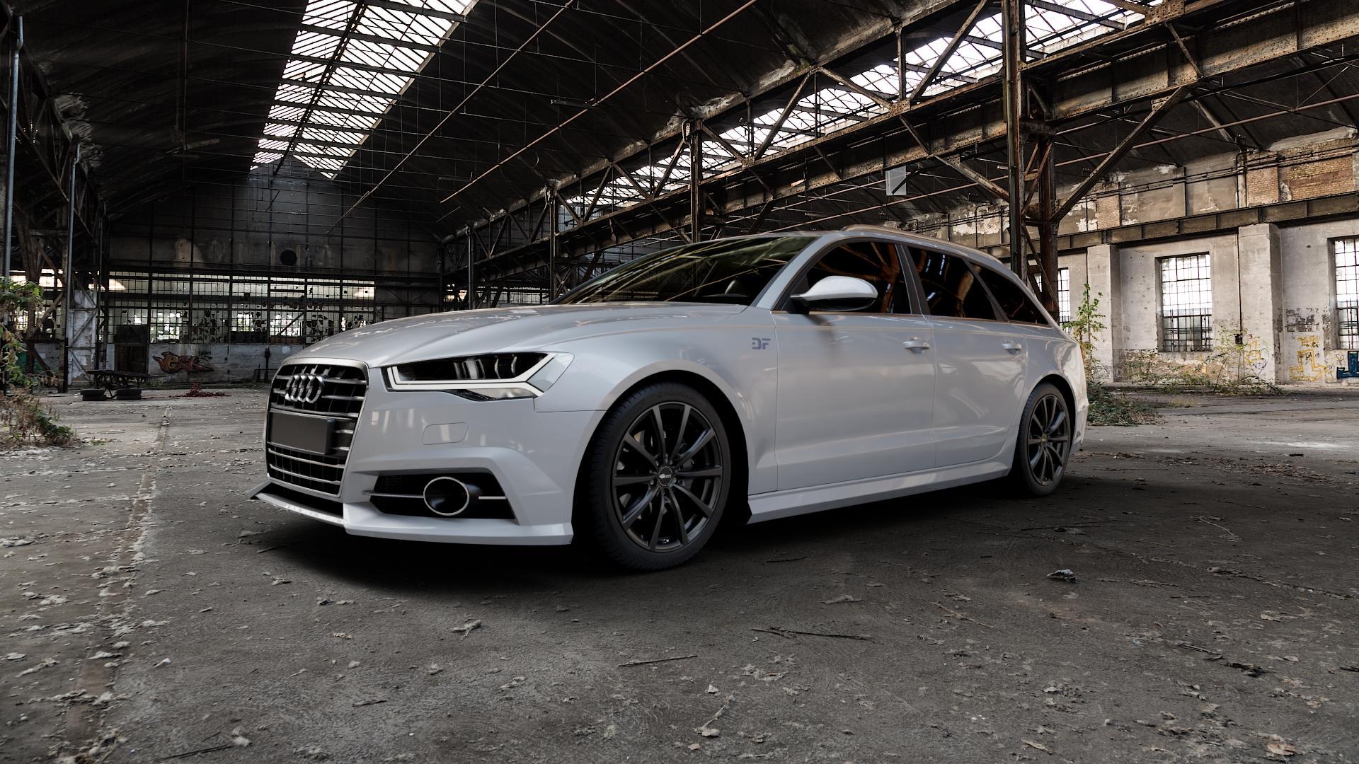 Brock B32 schwarz-matt lackiert Felge mit Reifen in 19Zoll Winterfelge Alufelge auf silbernem Audi A6 Typ 4G/C7 (Avant) Facelift ⬇️ mit 15mm Tieferlegung ⬇️ Industriehalle 1 Camera_000