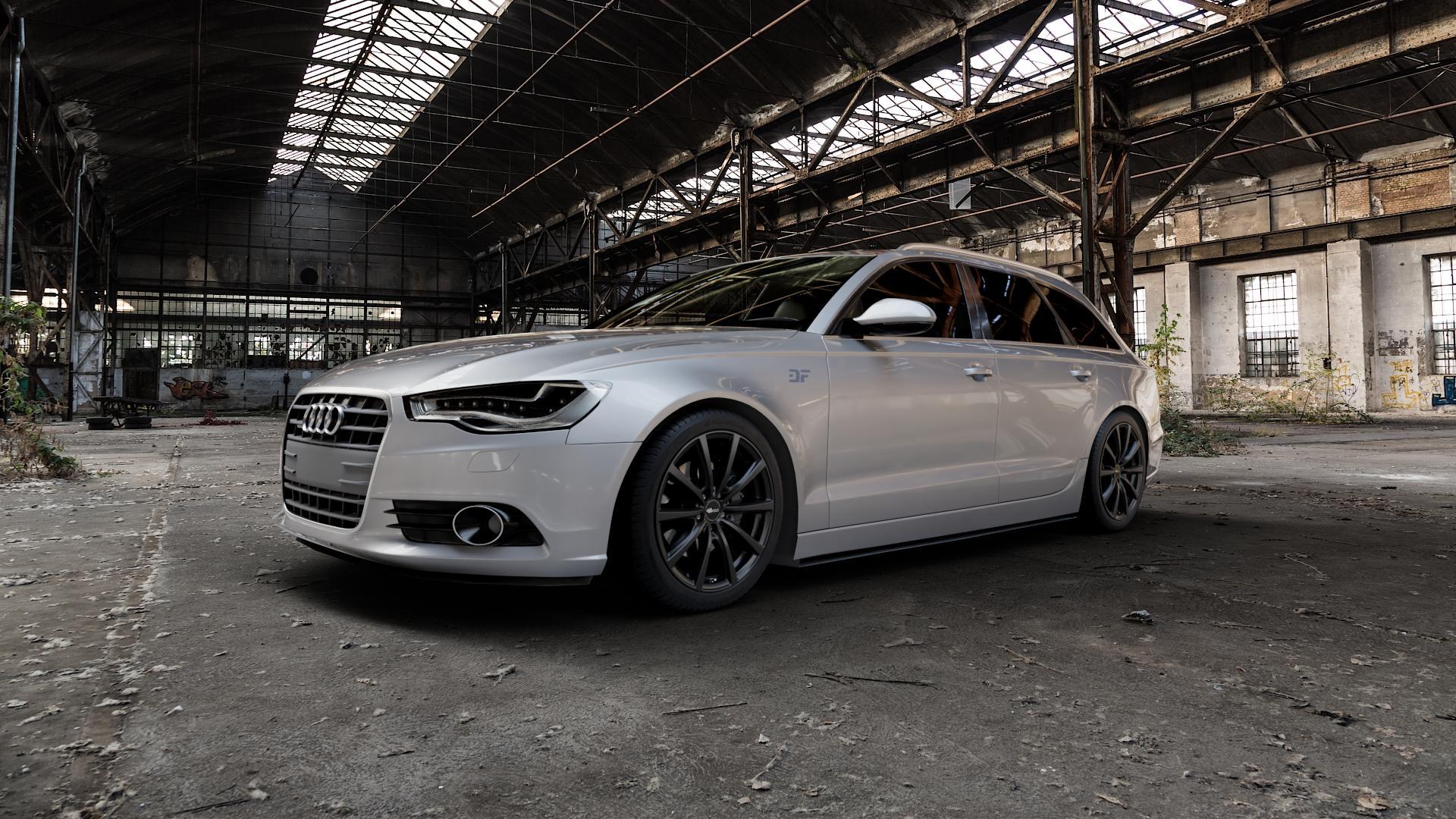 Brock B32 schwarz-matt lackiert Felge mit Reifen in 19Zoll Winterfelge Alufelge auf silbernem Audi A6 Typ 4G/C7 (Avant) ⬇️ mit 15mm Tieferlegung ⬇️ Industriehalle 1 Camera_000