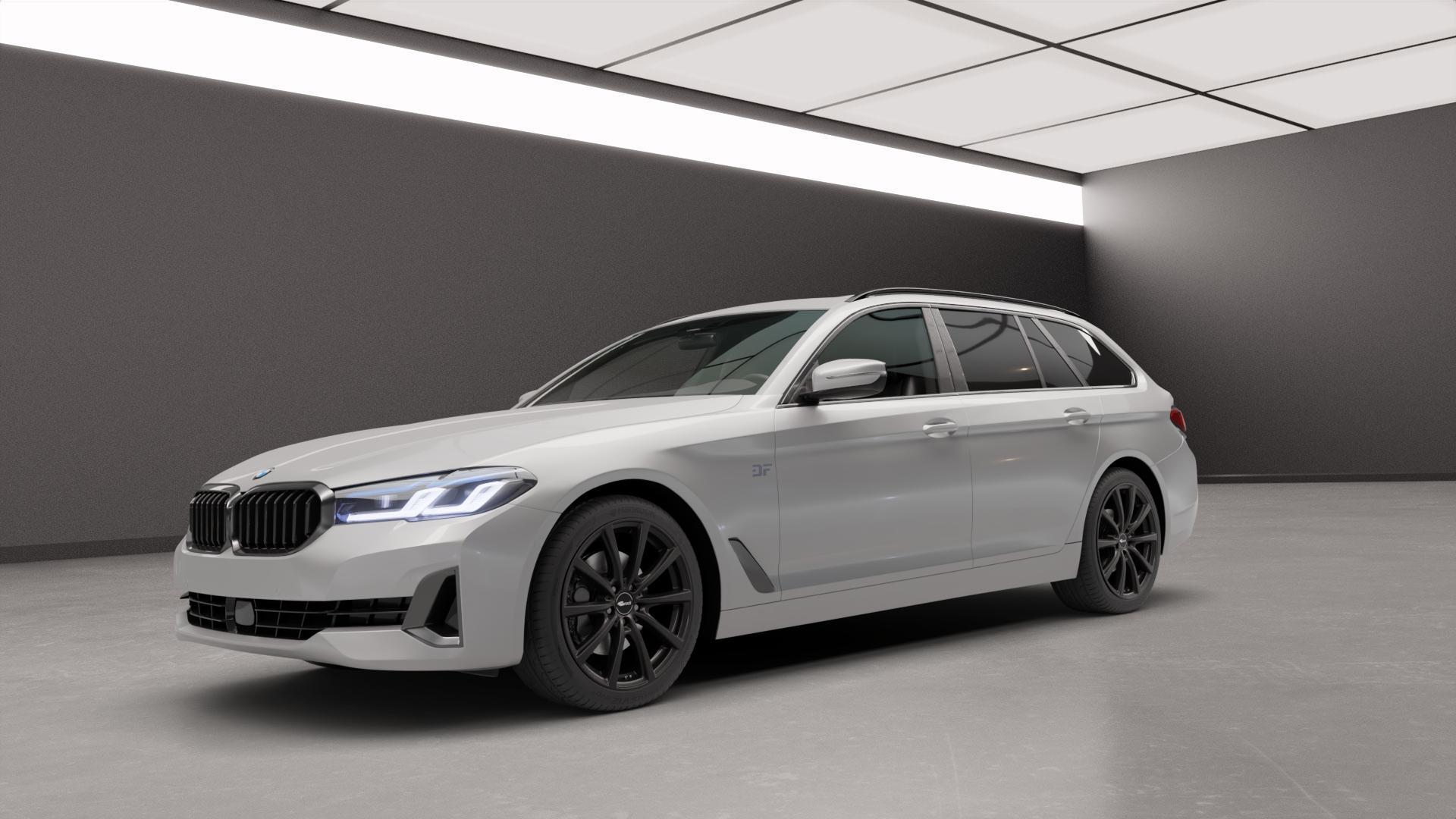 Brock B32 schwarz-matt lackiert Felge mit Reifen in 19Zoll Winterfelge Alufelge auf silbernem BMW 5er G31 Touring (G5K) Facelift ⬇️ mit 15mm Tieferlegung ⬇️ Neutral_mid_max5300mm Frontansicht_1