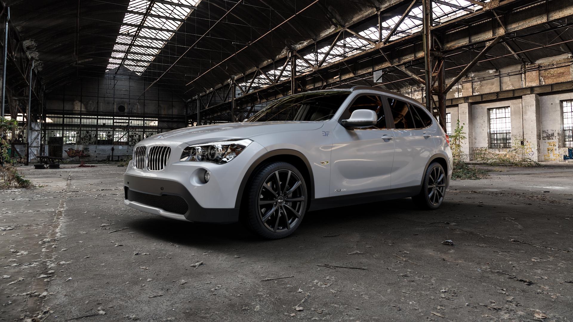 Brock B32 schwarz-matt lackiert Felge mit Reifen in 19Zoll Winterfelge Alufelge auf silbernem BMW X1 Typ E84 (X1, X-N1, X1-N1) ⬇️ mit 15mm Tieferlegung ⬇️ Industriehalle 1 Camera_000