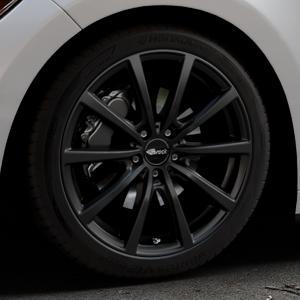 Brock B32 schwarz-matt lackiert Felge mit Reifen in 19Zoll Winterfelge Alufelge auf silbernem Ford Mustang VI Coupe Typ LAE Cabrio ⬇️ mit 15mm Tieferlegung ⬇️ Industriehalle 1 Thumbnail