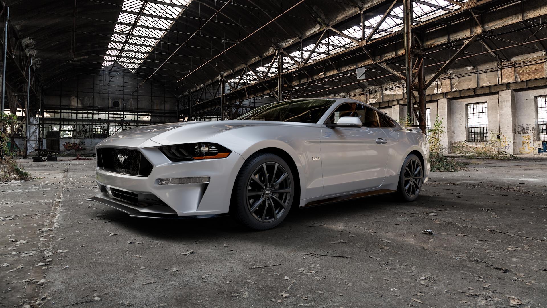 Brock B32 schwarz-matt lackiert Felge mit Reifen in 19Zoll Winterfelge Alufelge auf silbernem Ford Mustang VI Coupe Typ LAE Facelift ⬇️ mit 15mm Tieferlegung ⬇️ Industriehalle 1 Camera_000