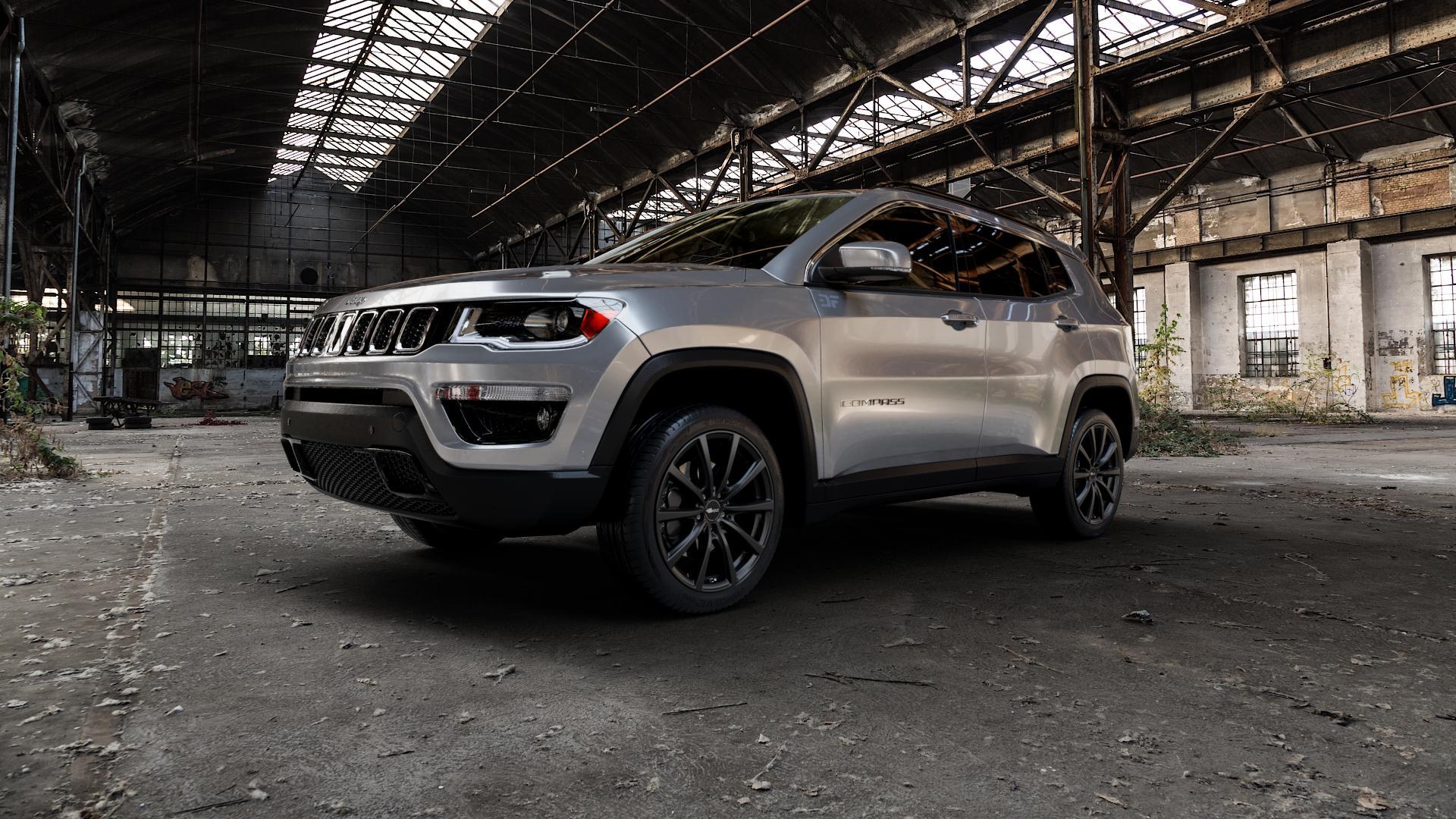 Brock B32 schwarz-matt lackiert Felge mit Reifen in 19Zoll Winterfelge Alufelge auf silbernem Jeep Compass III Typ MX ⬇️ mit 15mm Tieferlegung ⬇️ Industriehalle 1 Camera_000