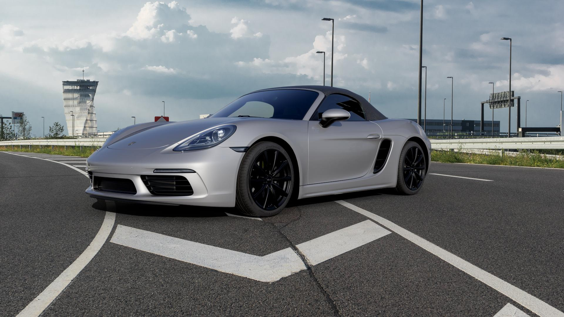 Brock B32 schwarz-matt lackiert Felge mit Reifen in 19Zoll Winterfelge Alufelge auf silbernem Porsche 718 Boxster Typ 982 ⬇️ mit 15mm Tieferlegung ⬇️ Autobahn_1 Camera_000