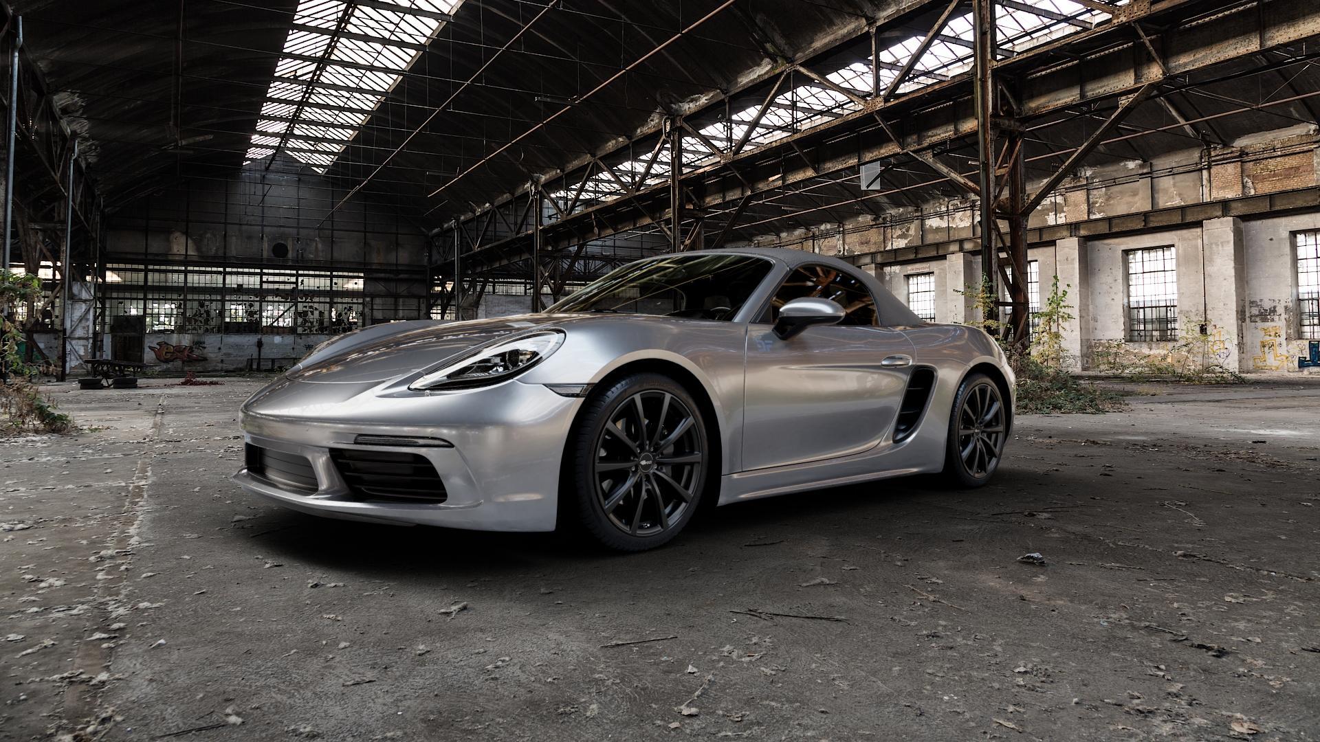 Brock B32 schwarz-matt lackiert Felge mit Reifen in 19Zoll Winterfelge Alufelge auf silbernem Porsche 718 Boxster Typ 982 ⬇️ mit 15mm Tieferlegung ⬇️ Industriehalle 1 Camera_000