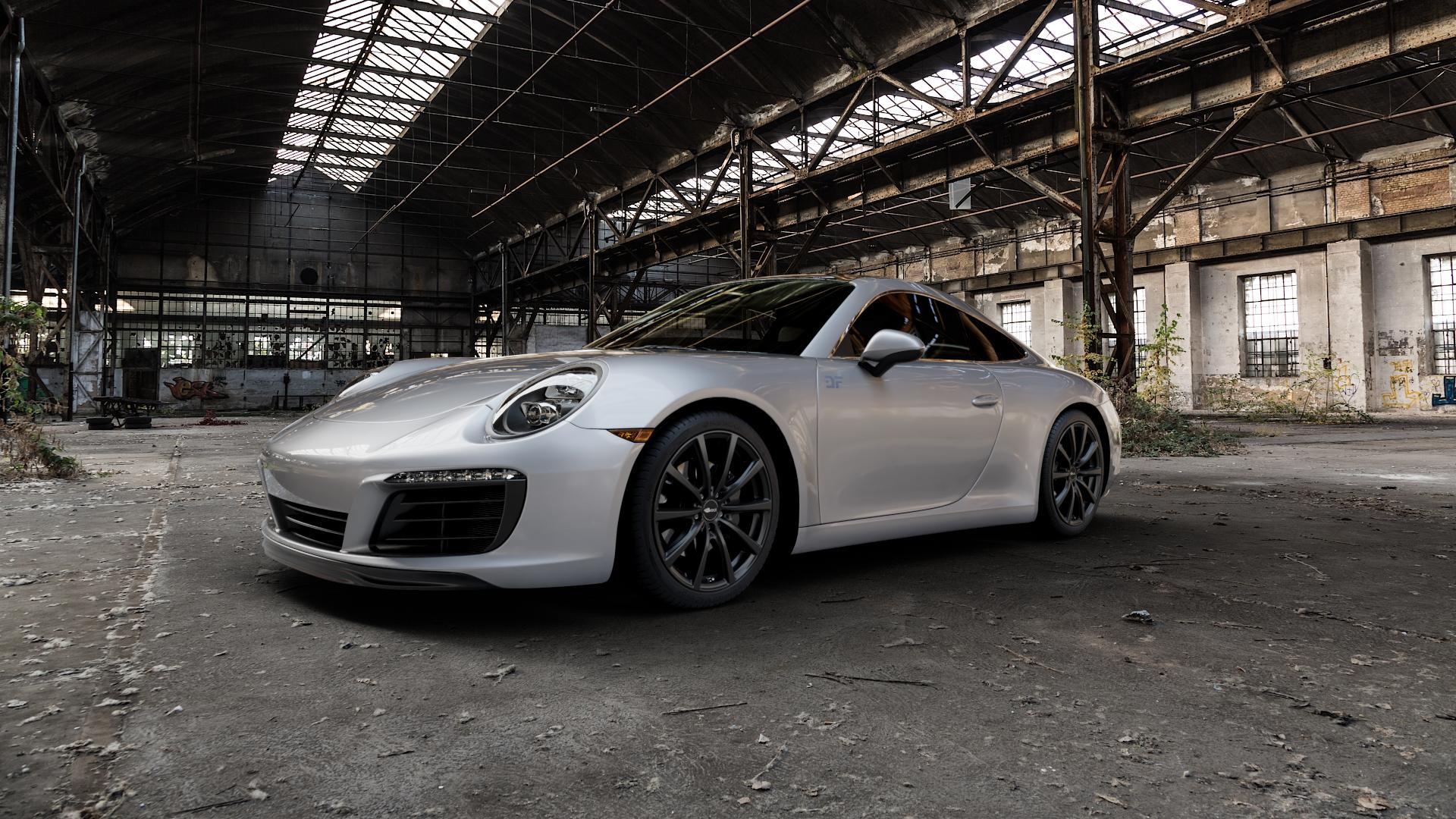 Brock B32 schwarz-matt lackiert Felge mit Reifen in 19Zoll Winterfelge Alufelge auf silbernem Porsche 911 Typ 991 Cabriolet Facelift ⬇️ mit 15mm Tieferlegung ⬇️ Industriehalle 1 Camera_000