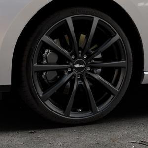 Brock B32 schwarz-matt lackiert Felge mit Reifen in 19Zoll Winterfelge Alufelge auf silbernem Seat Leon Typ 5F ST Facelift ⬇️ mit 15mm Tieferlegung ⬇️ Industriehalle 1 Thumbnail