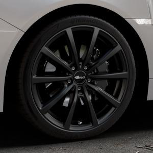 Brock B32 schwarz-matt lackiert Felge mit Reifen in 19Zoll Winterfelge Alufelge auf silbernem Subaru WRX Typ V1 Model 2018 ⬇️ mit 15mm Tieferlegung ⬇️ Industriehalle 1 Thumbnail