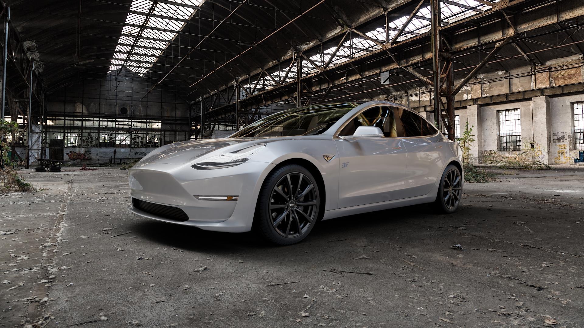 Brock B32 schwarz-matt lackiert Felge mit Reifen in 19Zoll Winterfelge Alufelge auf silbernem Tesla Model 3 Typ 003 ⬇️ mit 15mm Tieferlegung ⬇️ Industriehalle 1 Camera_000