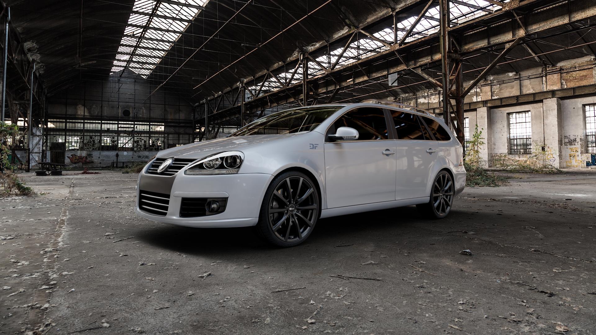 Brock B32 schwarz-matt lackiert Felge mit Reifen in 19Zoll Winterfelge Alufelge auf silbernem Volkswagen (VW) Golf 5 Variant ⬇️ mit 15mm Tieferlegung ⬇️ Industriehalle 1 Camera_000