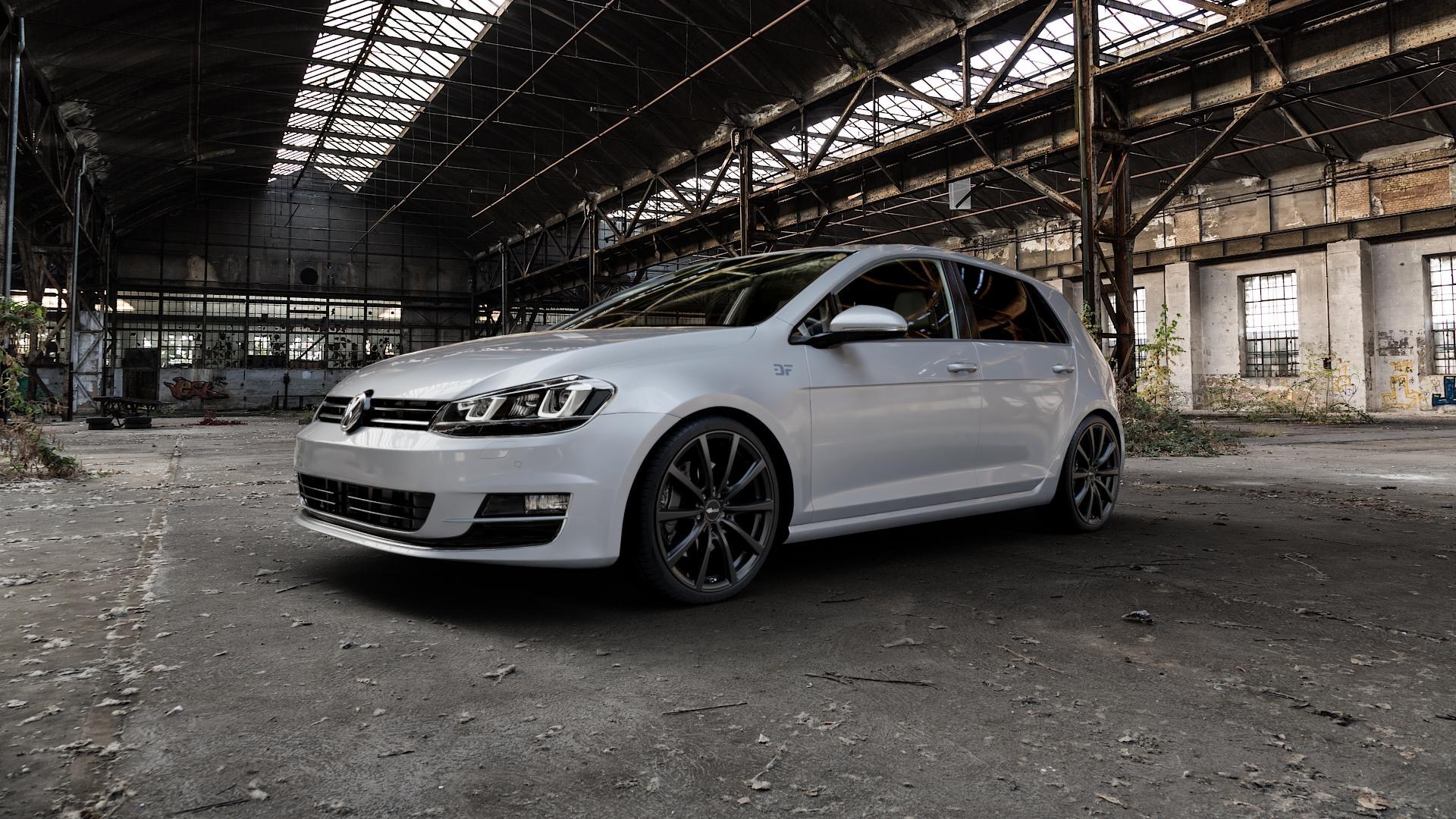 Brock B32 schwarz-matt lackiert Felge mit Reifen in 19Zoll Winterfelge Alufelge auf silbernem Volkswagen (VW) Golf 7 ⬇️ mit 15mm Tieferlegung ⬇️ Industriehalle 1 Camera_000