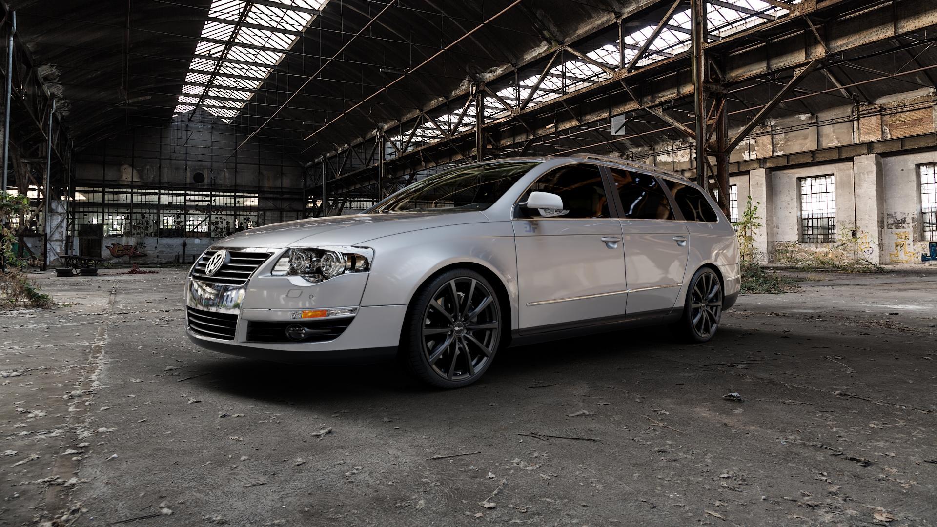 Brock B32 schwarz-matt lackiert Felge mit Reifen in 19Zoll Winterfelge Alufelge auf silbernem Volkswagen (VW) Passat 3C/B6 Variant ⬇️ mit 15mm Tieferlegung ⬇️ Industriehalle 1 Camera_000