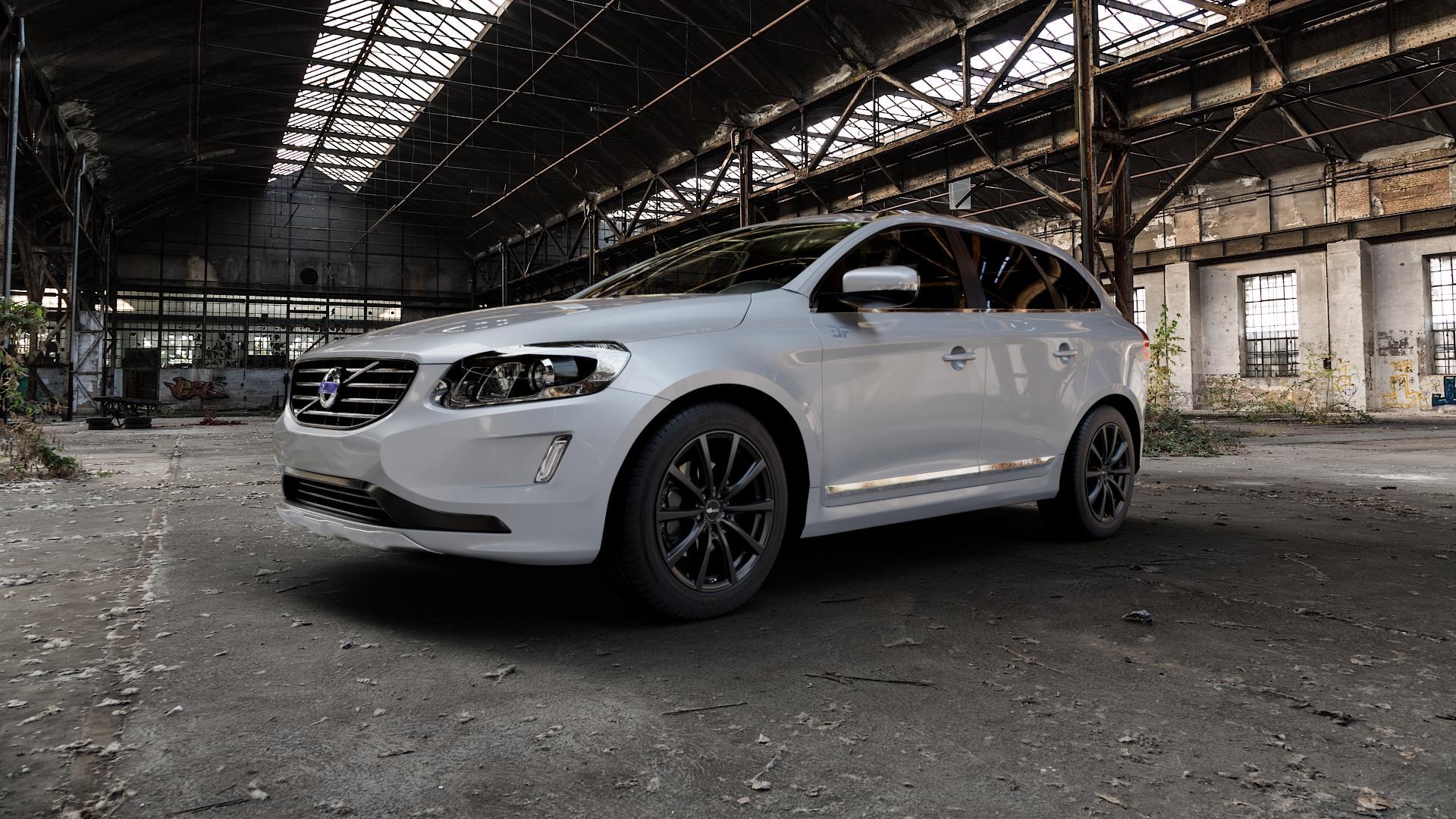 Brock B32 schwarz-matt lackiert Felge mit Reifen in 19Zoll Winterfelge Alufelge auf silbernem Volvo XC60 Typ D Facelift ⬇️ mit 15mm Tieferlegung ⬇️ Industriehalle 1 Camera_000