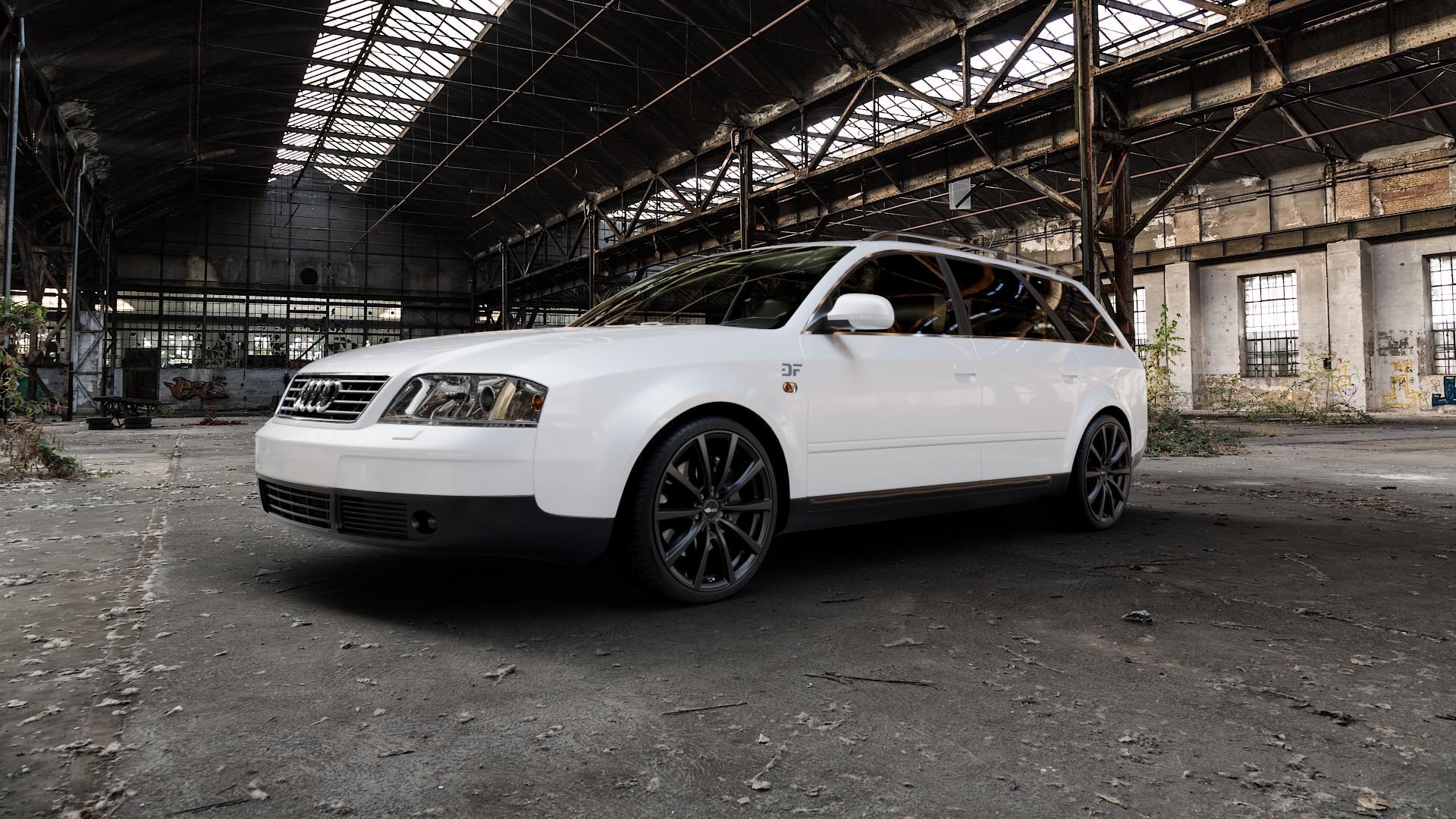 Brock B32 schwarz-matt lackiert Felge mit Reifen in 19Zoll Winterfelge Alufelge auf weissem Audi A6 Typ 4B/C5 (Avant) ⬇️ mit 15mm Tieferlegung ⬇️ Industriehalle 1 Camera_000
