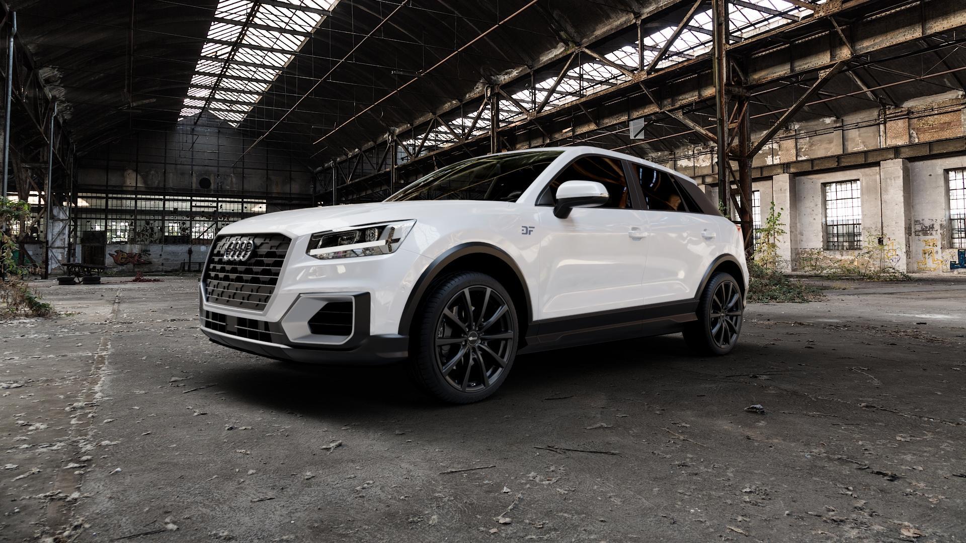 Brock B32 schwarz-matt lackiert Felge mit Reifen in 19Zoll Winterfelge Alufelge auf weissem Audi Q2 Typ GA ⬇️ mit 15mm Tieferlegung ⬇️ Industriehalle 1 Camera_000