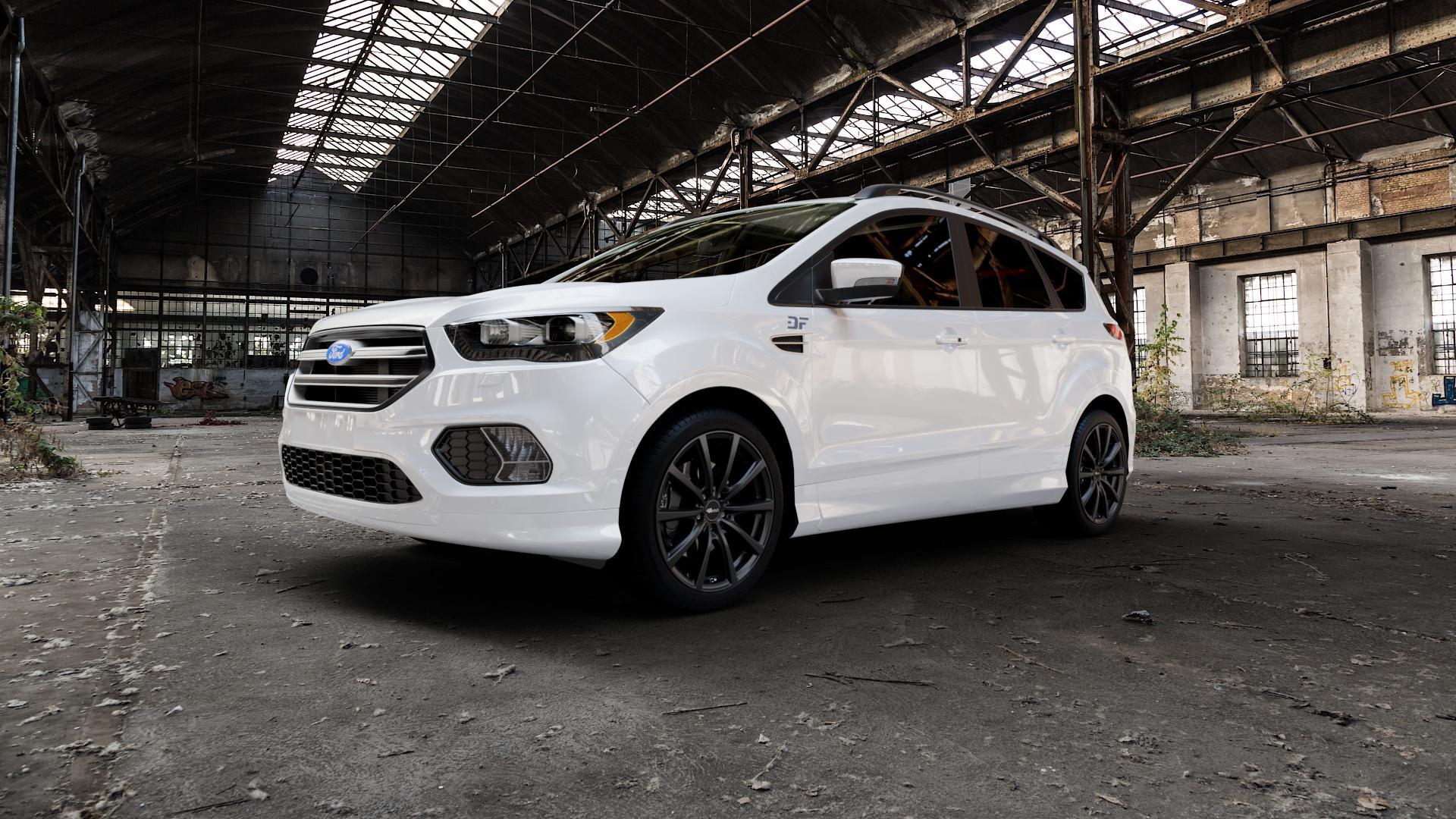 Brock B32 schwarz-matt lackiert Felge mit Reifen in 19Zoll Winterfelge Alufelge auf weissem Ford Kuga II Facelift (15->) (17->) ⬇️ mit 15mm Tieferlegung ⬇️ Industriehalle 1 Camera_000
