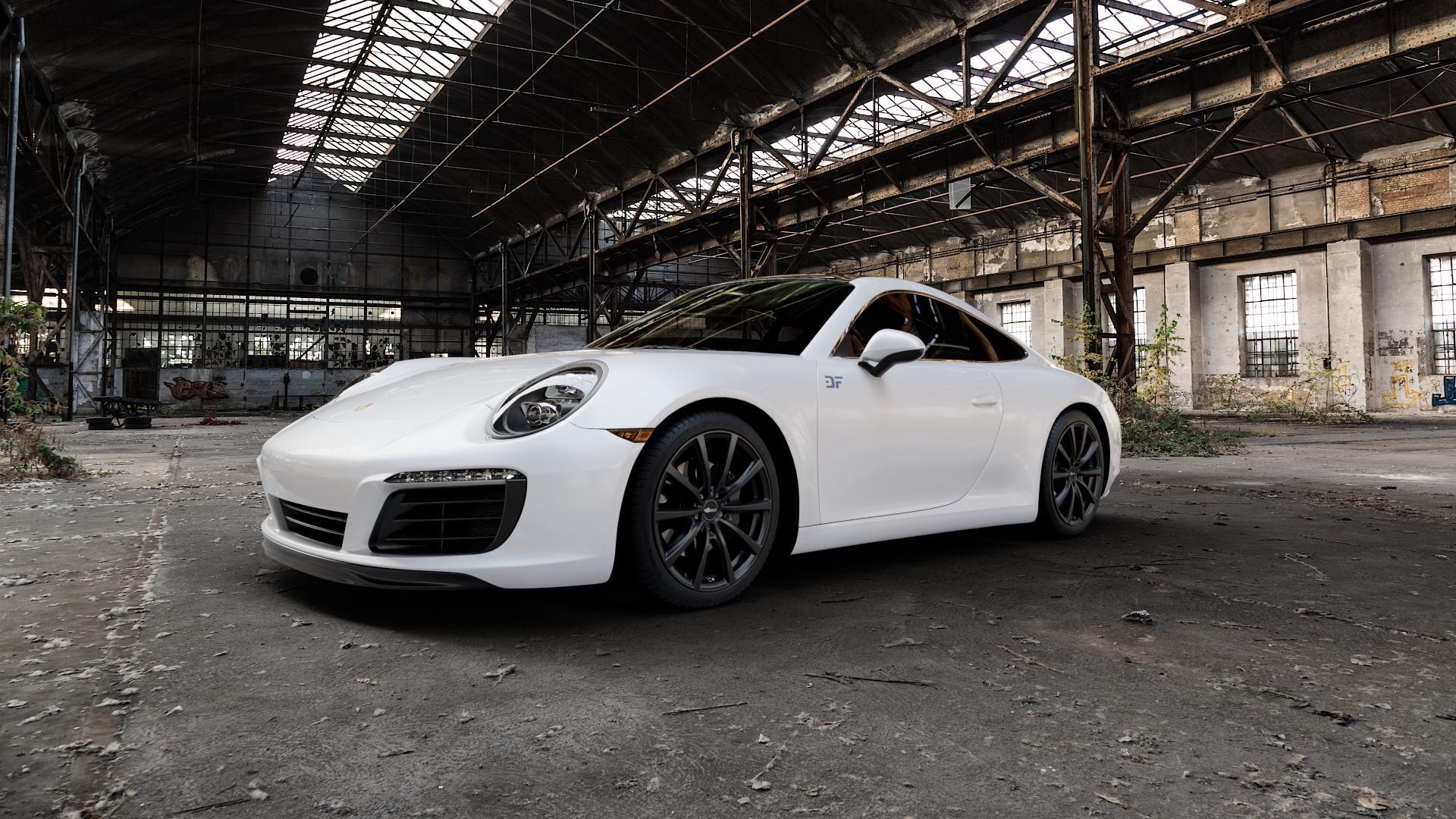 Brock B32 schwarz-matt lackiert Felge mit Reifen in 19Zoll Winterfelge Alufelge auf weissem Porsche 911 Typ 991 Cabriolet Facelift ⬇️ mit 15mm Tieferlegung ⬇️ Industriehalle 1 Camera_000