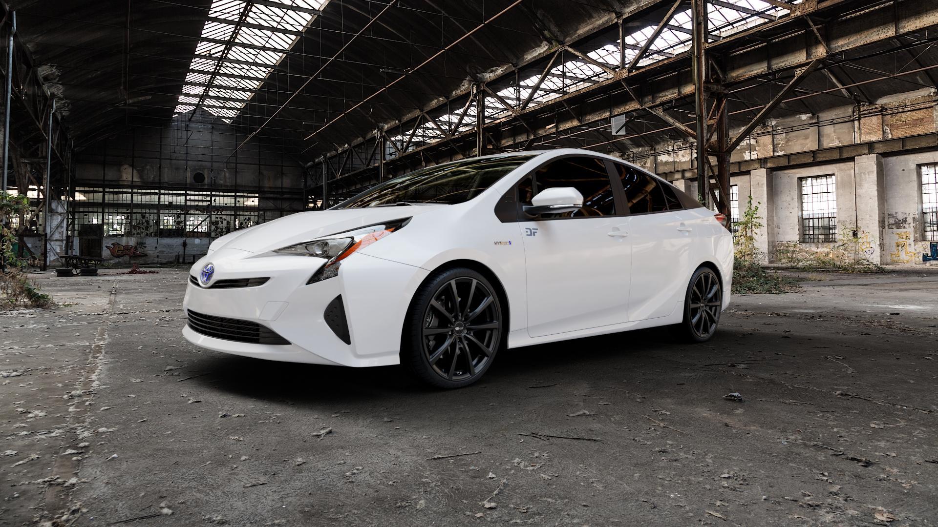 Brock B32 schwarz-matt lackiert Felge mit Reifen in 19Zoll Winterfelge Alufelge auf weissem Toyota Prius IV Typ XW5 ⬇️ mit 15mm Tieferlegung ⬇️ Industriehalle 1 Camera_000