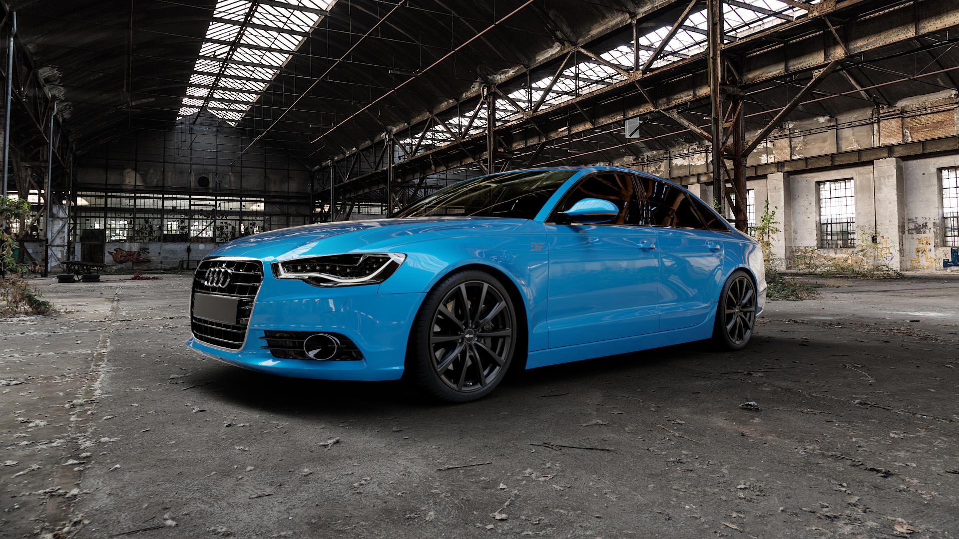 Brock B32 schwarz-matt lackiert Felge mit Reifen in 20Zoll Winterfelge Alufelge auf hellblau Audi A6 Typ 4G/C7 (Limousine) ⬇️ mit 15mm Tieferlegung ⬇️ Industriehalle 1 Camera_000