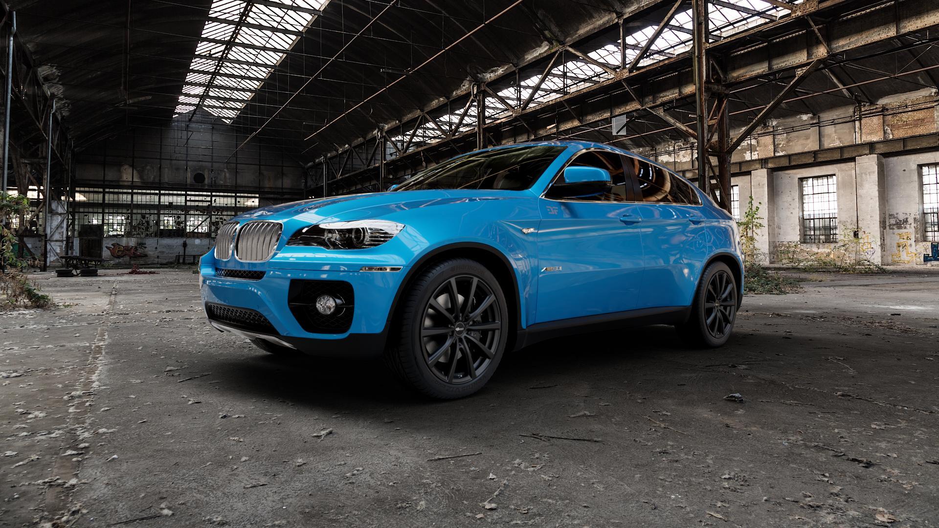 Brock B32 schwarz-matt lackiert Felge mit Reifen in 20Zoll Winterfelge Alufelge auf hellblau BMW X6 Typ E71 (X70, X6, X-N1, HY) ⬇️ mit 15mm Tieferlegung ⬇️ Industriehalle 1 Camera_000