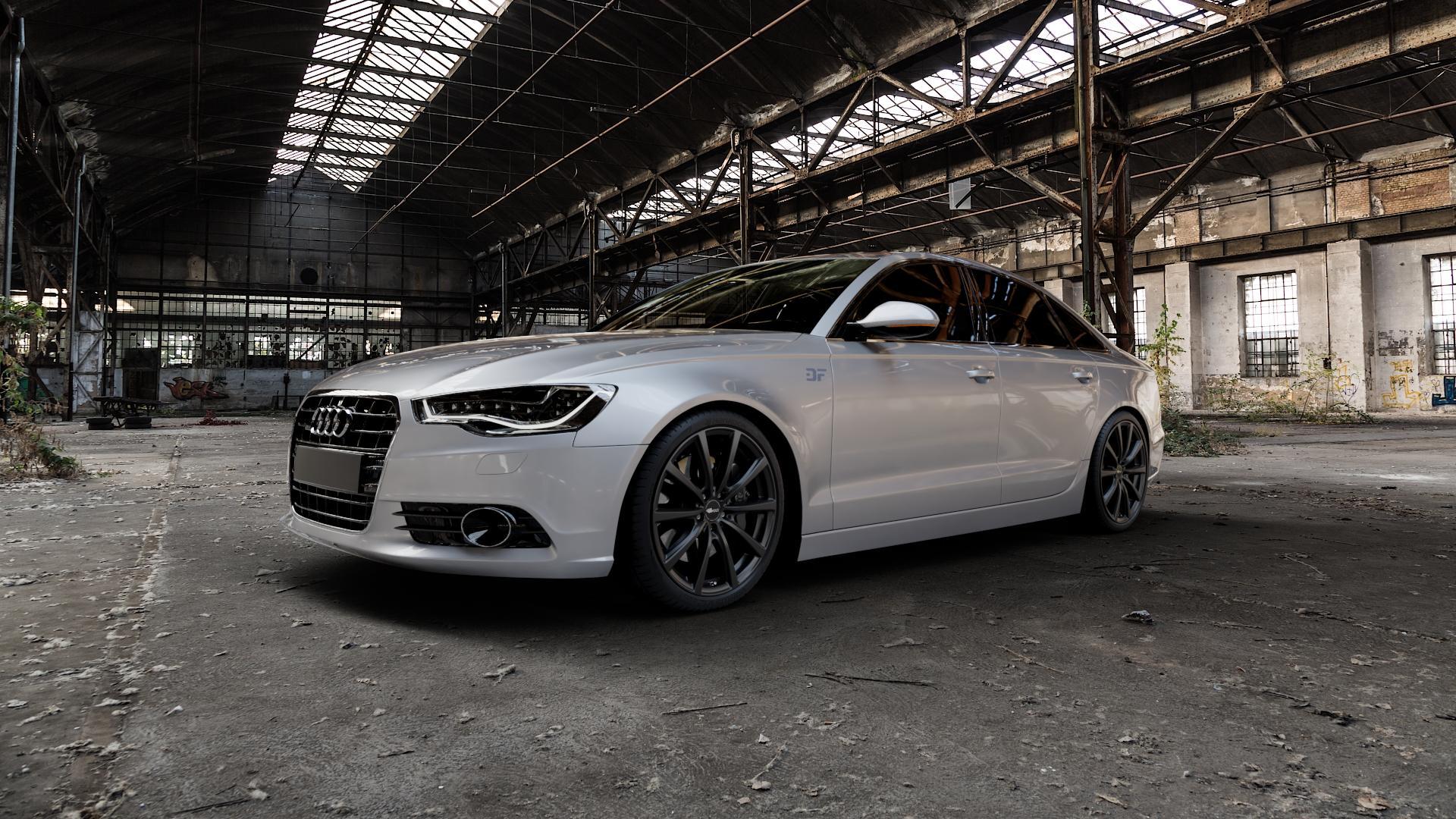 Brock B32 schwarz-matt lackiert Felge mit Reifen in 20Zoll Winterfelge Alufelge auf silbernem Audi A6 Typ 4G/C7 (Limousine) ⬇️ mit 15mm Tieferlegung ⬇️ Industriehalle 1 Camera_000