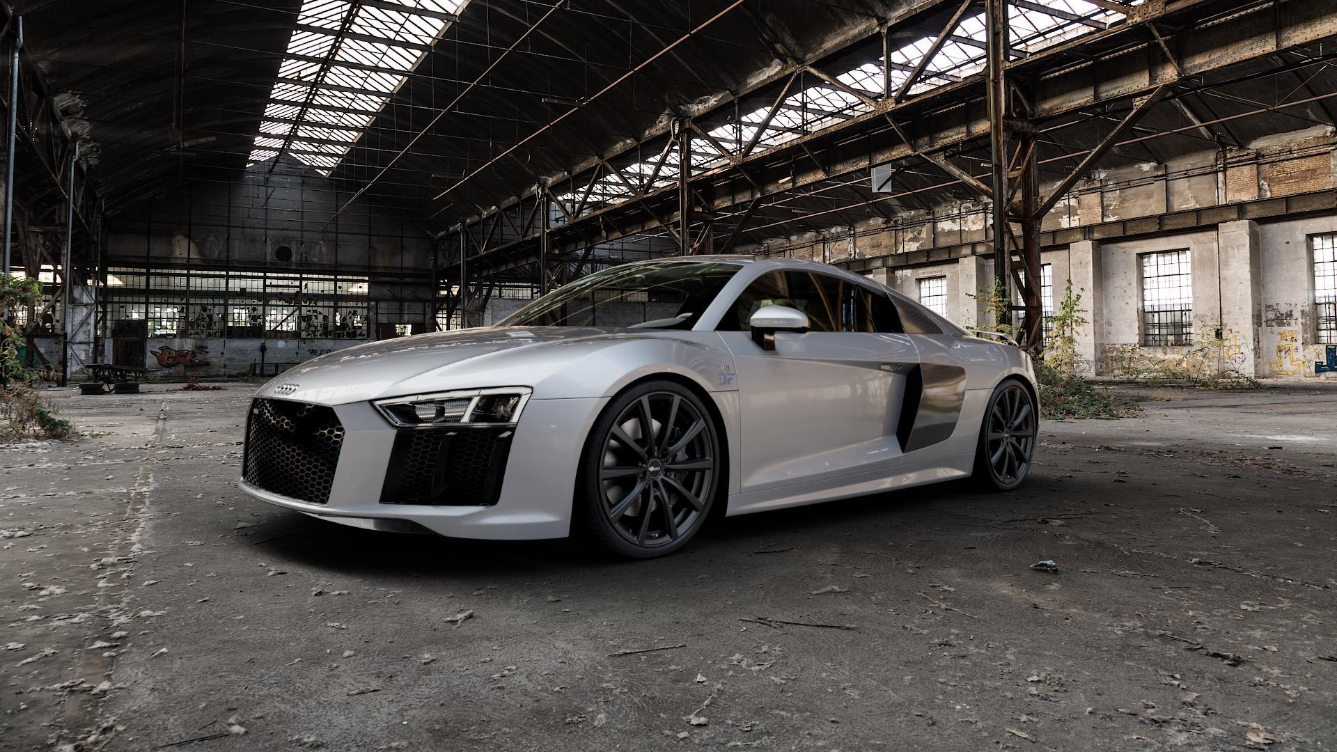Brock B32 schwarz-matt lackiert Felge mit Reifen in 20Zoll Winterfelge Alufelge auf silbernem Audi R8 Typ 4S 15-> Spyder 16-> ⬇️ mit 15mm Tieferlegung ⬇️ Industriehalle 1 Camera_000
