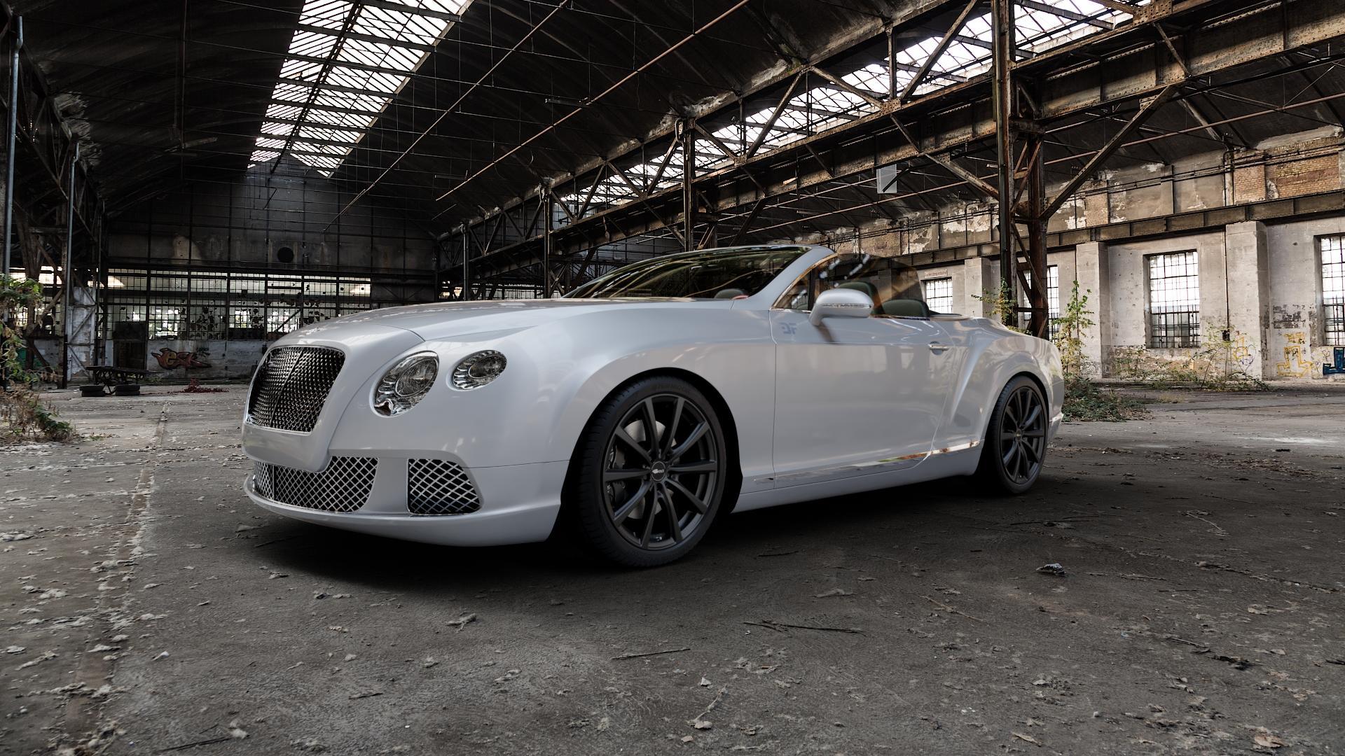 Brock B32 schwarz-matt lackiert Felge mit Reifen in 20Zoll Winterfelge Alufelge auf silbernem Bentley Continental Flying Spur GT GTC ⬇️ mit 15mm Tieferlegung ⬇️ Industriehalle 1 Camera_000
