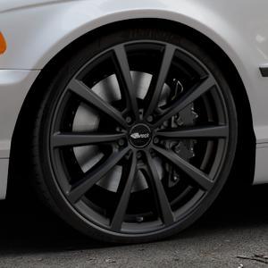Brock B32 schwarz-matt lackiert Felge mit Reifen in 20Zoll Winterfelge Alufelge auf silbernem BMW 316i Typ E46 (Limousine) 318i 320i 323i 328i 325i 330d 330xd 330i 318d 320d 325xi 330xi ⬇️ mit 15mm Tieferlegung ⬇️ Industriehalle 1 Thumbnail