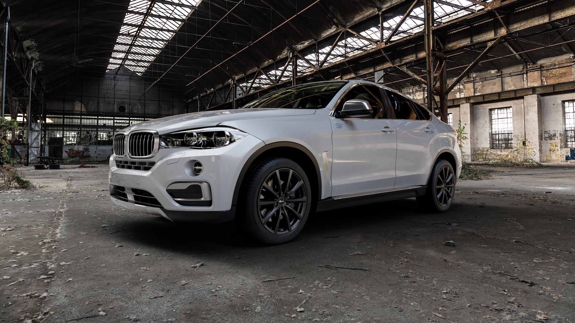 Brock B32 schwarz-matt lackiert Felge mit Reifen in 20Zoll Winterfelge Alufelge auf silbernem BMW X6 Typ F16 (X6, X-N1) ⬇️ mit 15mm Tieferlegung ⬇️ Industriehalle 1 Camera_000