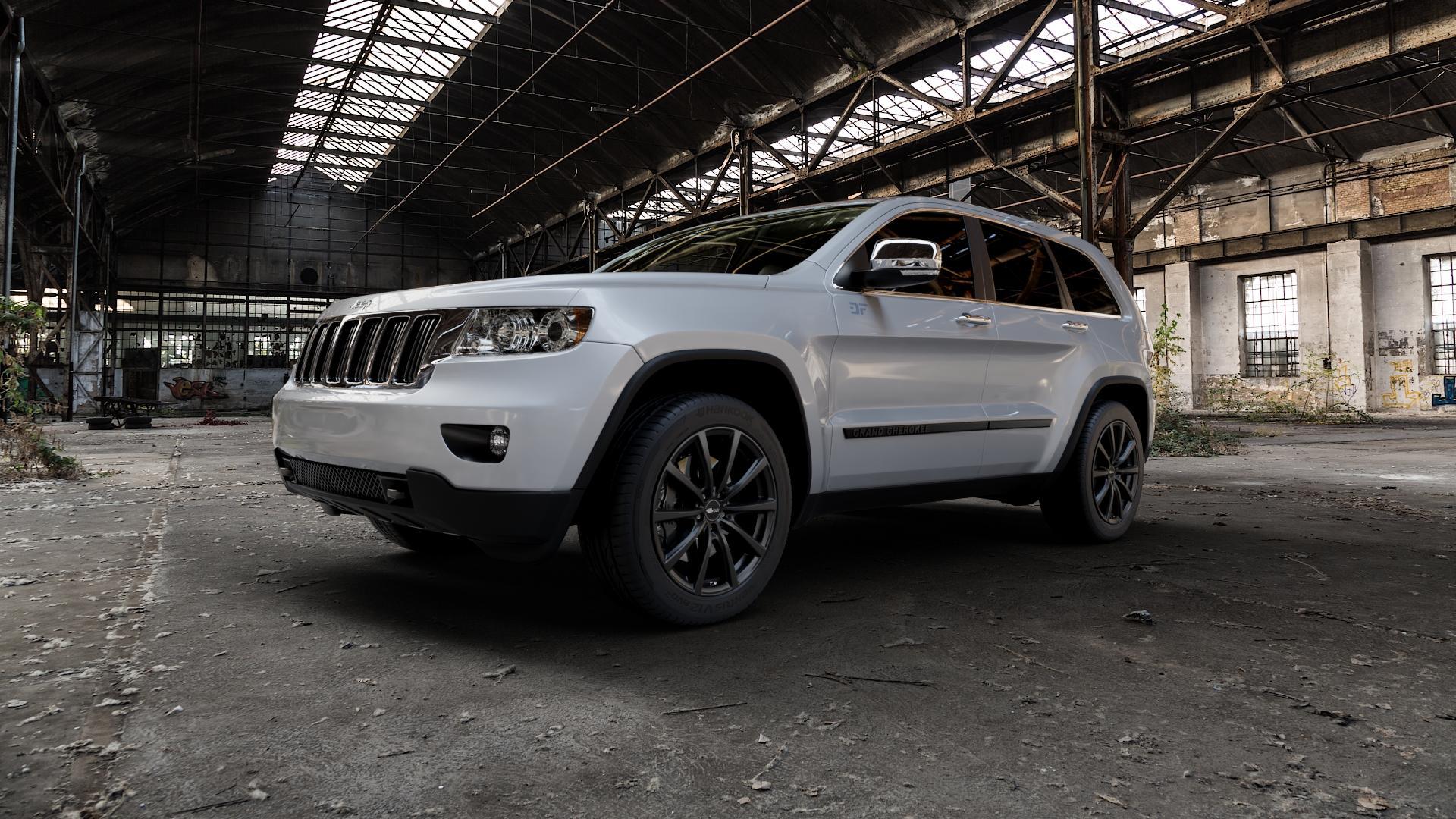 Brock B32 schwarz-matt lackiert Felge mit Reifen in 20Zoll Winterfelge Alufelge auf silbernem Jeep Grand Cherokee IV Typ WK ⬇️ mit 15mm Tieferlegung ⬇️ Industriehalle 1 Camera_000