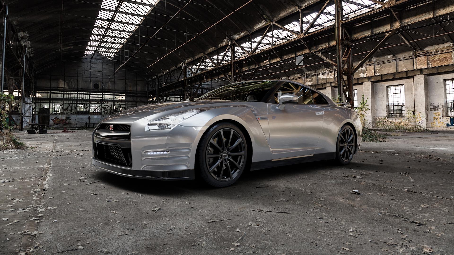 Brock B32 schwarz-matt lackiert Felge mit Reifen in 20Zoll Winterfelge Alufelge auf silbernem Nissan GT-R ⬇️ mit 15mm Tieferlegung ⬇️ Industriehalle 1 Camera_000