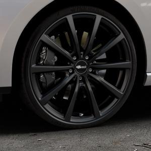 Brock B32 schwarz-matt lackiert Felge mit Reifen in 20Zoll Winterfelge Alufelge auf silbernem Seat Leon Typ 5F ST Facelift ⬇️ mit 15mm Tieferlegung ⬇️ Industriehalle 1 Thumbnail