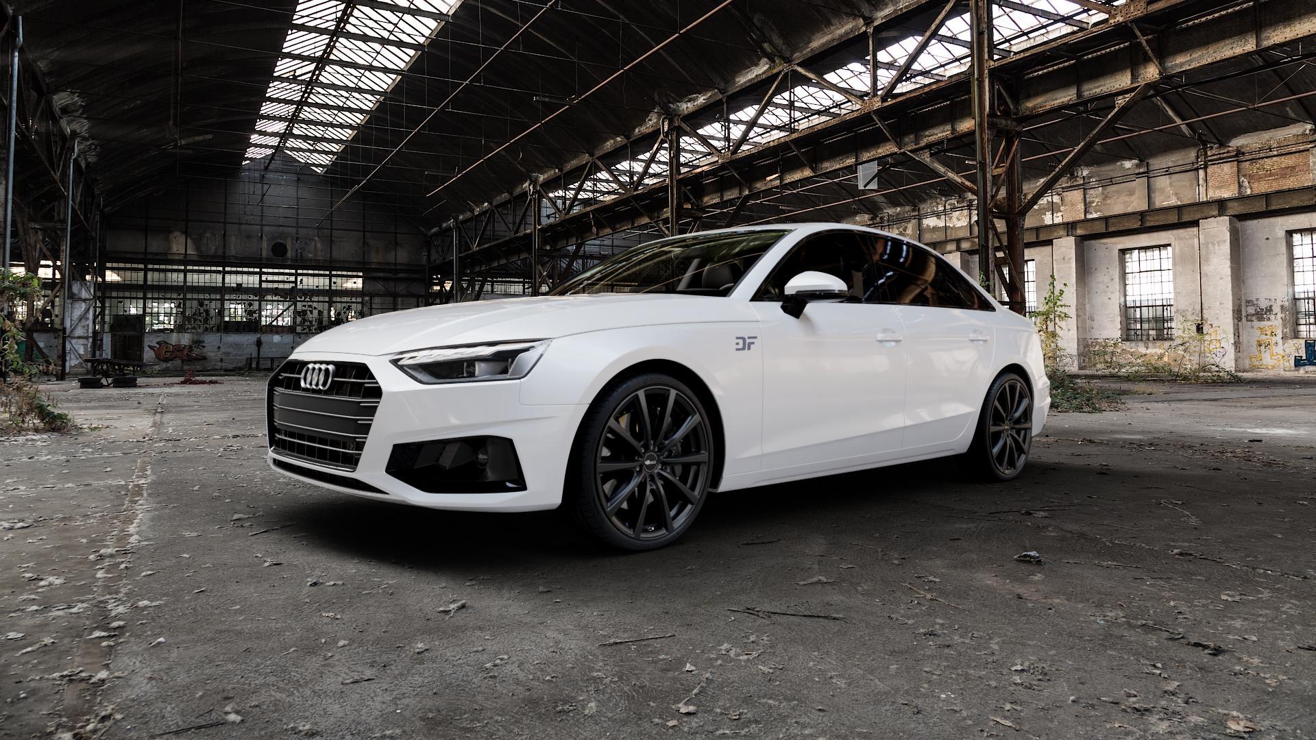 Brock B32 schwarz-matt lackiert Felge mit Reifen in 20Zoll Winterfelge Alufelge auf weissem Audi A4 Typ B9 (Limousine) Facelift ⬇️ mit 15mm Tieferlegung ⬇️ Industriehalle 1 Camera_000